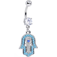 Clear Blue Cubic Zirconia Aqua Beaded Hamsa Dangle Belly Ring | Body Candy Body Jewelry