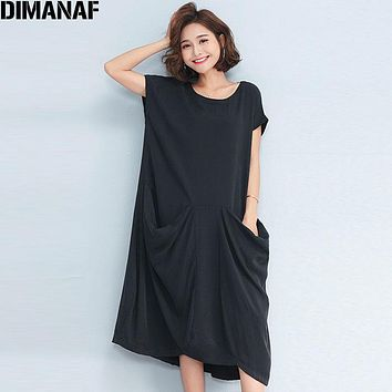 DIMANAF Women Long Dress Sundress Plus Size Solid Black Loose Linen Summer Female Vintage Vestidos Casual Elegant Dress Pockets