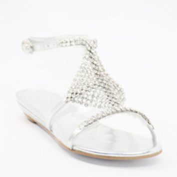 Silver flats with rhinestones (Style 500-1)