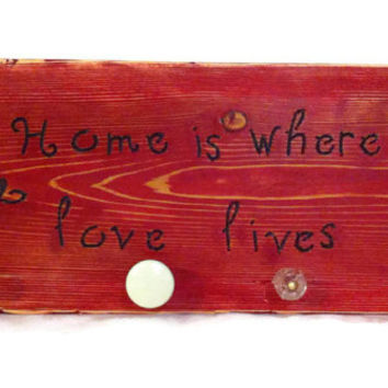 Distressed repurposed  red love key rack home decor