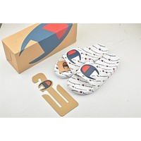 Champion Life Youth Slide Sandals Repeating Logo White