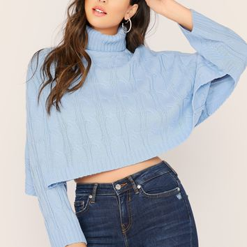 Baby Blue Cable Knit Turtleneck Pullover Sweater