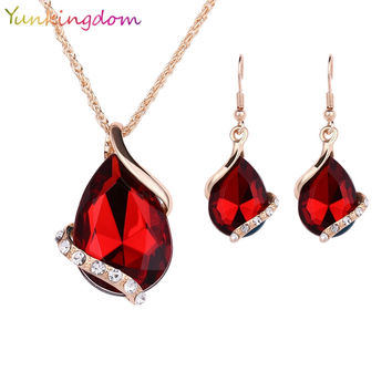 Yunkingdom Big Crystal Jewelry Sets for women Red Cubic Zirconia Necklaces& linked Earrings Geometric Design Wedding Jewelry Set