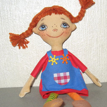 Cloth Art Dolls -Cloth doll-Stuffed Doll-Art doll-OOAK Doll-Textile Doll-Cotton Doll-Soft Doll-Pippi- Rag doll -Fabric doll- Collecting doll