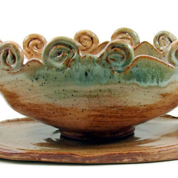 Large Ceramic Tureen and Charger - Stoneware Bowl Centerpiece - Clay Platter - Pottery Set - Handmade Art