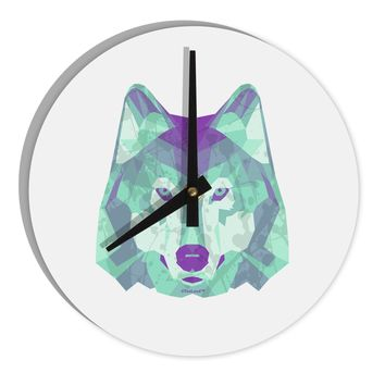"Geometric Wolf Head 8"" Round Wall Clock  by TooLoud"