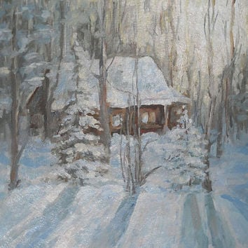 Sunset Winter Landscape Original Authors Work Oil Painting Contemporary Art Pine tree Forest Cottage Hut Snow Forest Gift for Her Wall Decor
