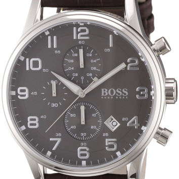 Hugo Boss 1512570 Leather Mens Watch - Black Dial