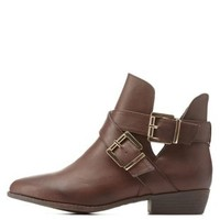 Brown Bamboo Double-Belted Flat Booties by Bamboo at Charlotte Russe