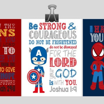 Set of 3 - Superhero Bible Verse Wall Art - Captain America, Spiderman, Ironman - Scripture Nursery Decor