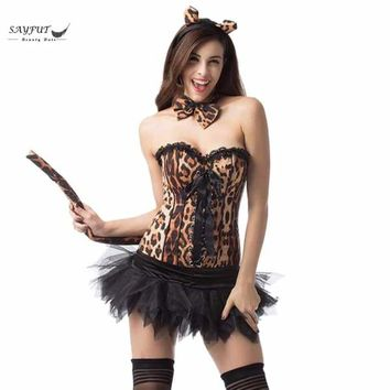 SAYFUT Women Sexy Leopard Costume Halloween Costumes For Women Adult Cosplay One Set Uniform Fancy Dress Cat Outfit S-2XL Macchar Cosplay Catalogue