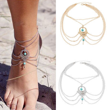 17KM  Vintage Antique Silver Anklet Women Turquoise Beads Bohemian Ankle Bracelet cheville Boho Foot Jewelry