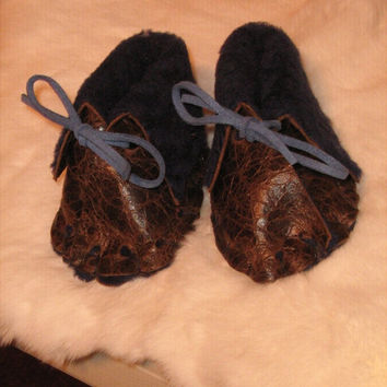 Baby Moccasins made with designer leather and fur, Baby Booties,Infant Baby Shoes,3-6 mo. Native American inspired, Pow Wow,brown and blue