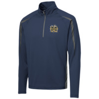 Michigan Wolverines Splatter Logo Mens Sport Wicking Colorblock Half-Zip