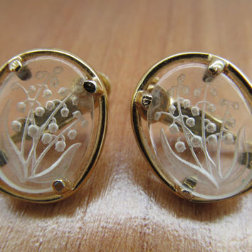 Etched glass earrings, 1960 Napier jewelry, Clip screw on earrings