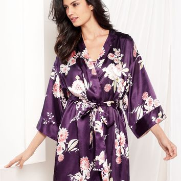 Morgan Taylor Pajamas, Silk Screen Flowers Wrap and Chemise - Lingerie - Women - Macy's