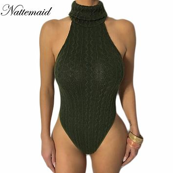 NATTEMAID knitted sweater bodysuit for women Sexy Female Casual turtleneck One piece Slim Bodycon short Jumpsuits Overalls