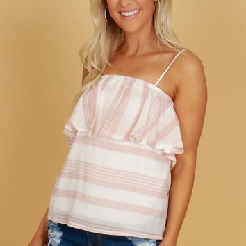 Ruffle Striped Tank Top Mauve