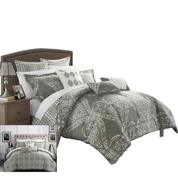Parma Sicily Reversible Printed Comforter Set King, Queen & Twin Silver