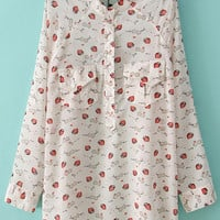 Strawberry Print Blouse With Pockets