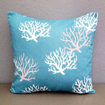 Teal Coral Decorative Pillow Home Decor Beach Nautical 18in Cotton Accent Pillow Throw Pillow Toss Envelope Modern Boat Decor Blue Pillow