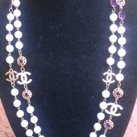 """Beautiful 64"""" CHANEL Inspired Amethyst Crystal & Pearl Necklace"""