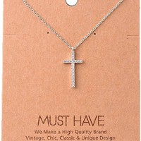 Must Have-Bling Cross Necklace, Silver