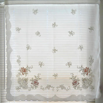Voile Curtain Cottage Curtains Floral Sheer Curtain Panel French Country Kitchen Curtain White Sheer Curtain Embroidered Curtain Bedroom