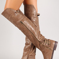 Triple Strap Back Thigh High Riding Boot