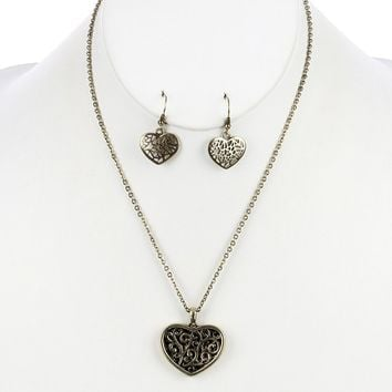 Filigree Heart Curb Chain Necklace Set