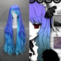 "36"" Curly Gradient Purple Blue Cosplay Wig -- VOCALOID THE HOLIC LUKA"