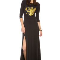 Black Tiger Face Print Sleeve Maxi Dress With Slit