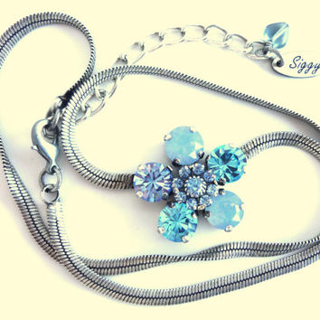 Swarovski crystal daisy pendant necklace, sapphire and blue opal, silver chain, better than sabika