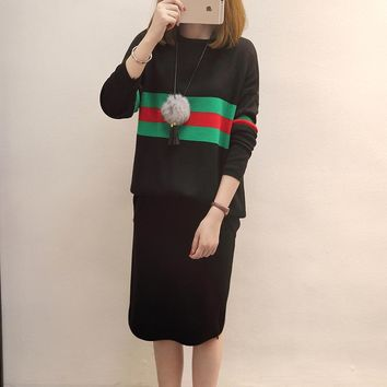 New Fashion Lady Autumn Winter Women Long Sleeved Knitted Sweater  Slit Skirt Two Pieces Set Striped Jumper Coat