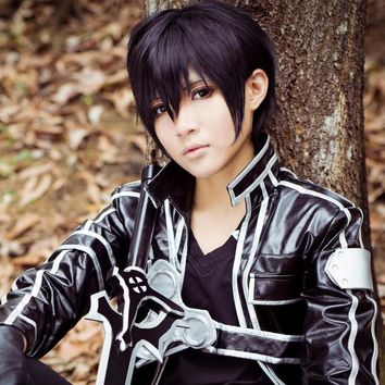 Sword Art Online Kazuto Kirigaya Kirito Anime Cosplay Wig Black Short Fluffy Layered Hair Wigs