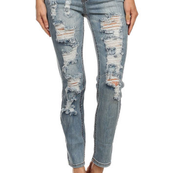 Distressed Ripped Boot Cut Slim Fit Stretch Destroyed Ice Blue Denim Jean