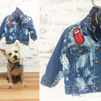 Vintage Kids ROCK 'N ROLL Punk Distressed Bleached Trashed Patched Denim OOAK Rolling Stones Route 66 Jacket || Size 24 Months 2 Years