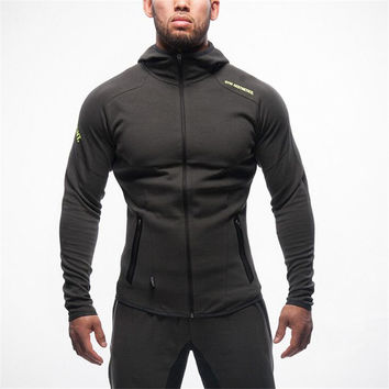 Hot Sale Autumn Coat Bodybuilding Fitness Tracksuit Hoodies Pullover Jacket Slim Fit Sweatshirts Muscle Men Sportswear