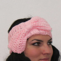 Hand Knit Bow Headband Oversized Bow Ear Warmer Wide Knitted Headband Candy Pink. Winter Headband, Hair Bands Hair Coverings for Women