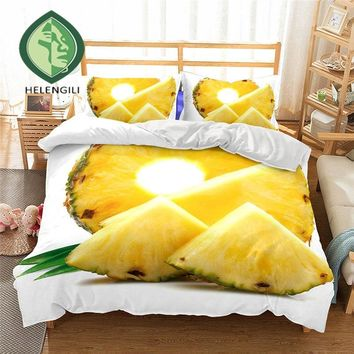 3D Bedding Set Pineapple Print Duvet cover set Twin queen king lifelike bedclothes with pillowcase bed set home Textiles #2-1