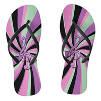 Green Pink Lavender Purple Music Clef Flip Flops