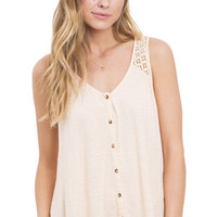 Just Peachy Lace Back Button Front Tank Top
