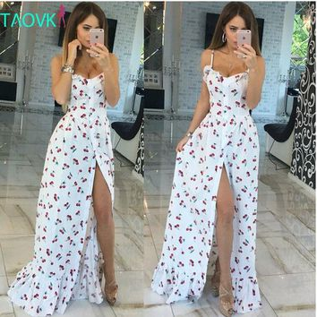 PEAPGB2 Russian famous TaoVK fashion 2016 summer women long Cherry printing white empire strapless floor length dresses