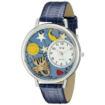 SheilaShrubs.com: Unisex Scorpio Royal Blue Leather Watch U-1810011 by Whimsical Watches: Watches