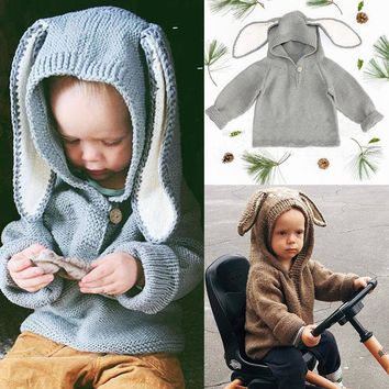Infant Baby Girl Boy Clothes Long Sleeve Hooded Knitted Sweater Warn Winter Pullovers Crochet Tops Babys Girls Boys Clothes