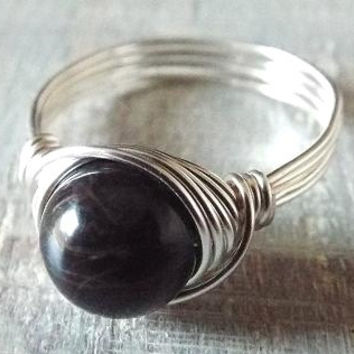 Black Obsidian Ring, Banded Obsidian Ring, Black Stone Ring, Gothic Ring, Wire Wrapped Ring, Simple Ring, Black Wire Wrap Ring, Birthday