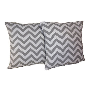 "Gray Chevron Pillow Covers, set of two 18"" x 18"""