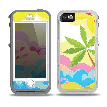 The Cartoon Bright Palm Tree Beach Skin for the iPhone 5-5s OtterBox Preserver WaterProof Case