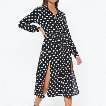 New Polka Dot Dress Women Casual Turn Down Collar Office Midi Dress Elegant Party Long Sleeve Dresses Tunic Vestidos Mujer
