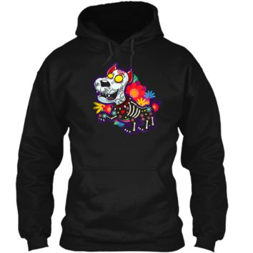 Day of the Dead Dog with flowers hearts and fangs  Pullover Hoodie 8 oz